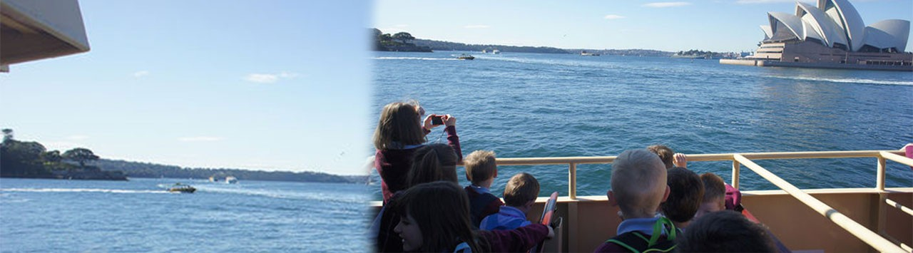 Students on a ferry travelling across the Sydney Harbour